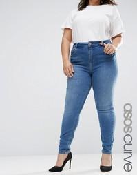 Темные зауженные джинсы с классической талией ASOS CURVE Lisbon - Синий