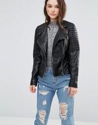Кожаная байкерская куртка со стегаными вставками и пряжками Barneys Originals - Черный