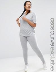 Комплект из 2 предметов -базовая футболка и леггинсы ASOS CURVE LOUNGE - Серый