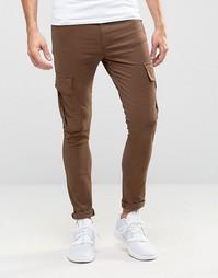 Коричневые суперузкие брюки‑карго ASOS - Коричневый