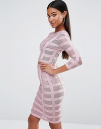 Сетчатый бандажный комплект WOW Couture Co-ord - Розовый