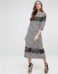 Millie Mackintosh Leopard Print Midi Dress - Синий
