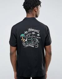 Вискозная рубашка классического кроя с вышивкой и лацканами на воротнике ASOS - Черный