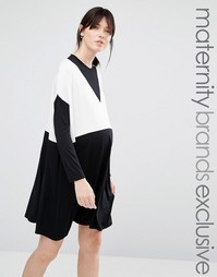 Oversize-платье колор блок для беременных Bluebelle Maternity - Черный