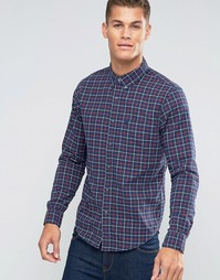 Синяя оксфордская рубашка узкого кроя в клетку на пуговицах Abercrombie & Fitch - Синий