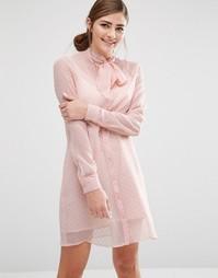 Платье-рубашка с полупрозрачной накладкой и завязкой на бант Fashion Union - Розовый