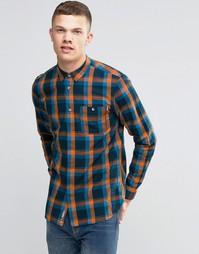 Клетчатая рубашка с карманом и длинными рукавами Bench - Темно-синий