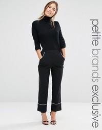 Укороченные пижамные брюки с контрастной отделкой Alter Petite - Черный
