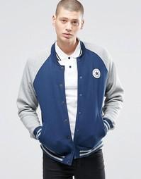 Синяя трикотажная куртка-пилот с нашивкой Converse Chuck 10001111-A02 - Синий