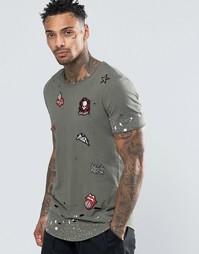 Удлиненная футболка с рваной отделкой и заплатками Black Kaviar - Зеленый
