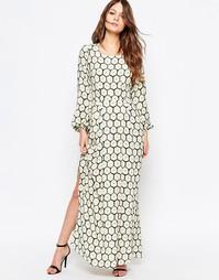 Платье макси с длинными рукавами и принтом шестиугольников Closet - Зеленый
