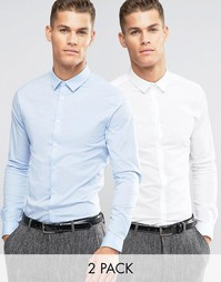 2 рубашки скинни с длинными рукавами ASOS - СКИДКА 15 - Мульти