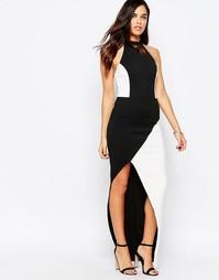Монохромное платье макси с разрезом Jessica Wright Nessy - Черный