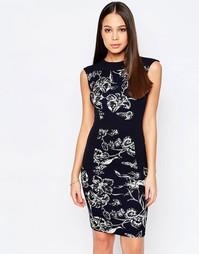 Платье-футляр с принтом Vesper Aries - Темно-синий