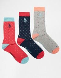 3 пар носков в красный горошек Penguin - Красный