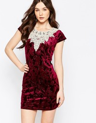 Бархатное платье с топом в стиле кроше Jasmine - Фиолетовый
