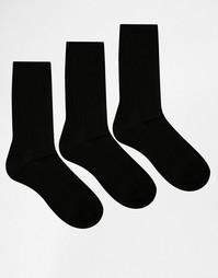3 пары черных носков вязки косичкой Lovestruck - Черный