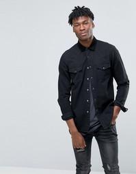 Черная джинсовая рубашка навыпуск в стиле вестерн с длинными рукавами ASOS - Черный
