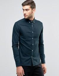 Джинсовая рубашка скинни с длинными рукавами и принтом ASOS - Темно-синий