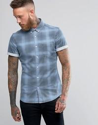 Джинсовая рубашка суперузкого кроя в клетку с короткими рукавами и выбеленным эффектом ASOS - Синий