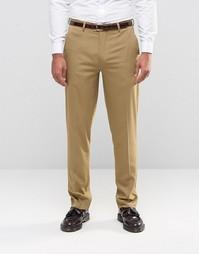 Строгие коричневые брюки слим ASOS - Коричневый