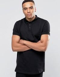 Однотонная жаккардовая футболка-поло D-Struct - Черный