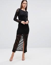 Кружевное платье макси с разрезом спереди TFNC - Черный