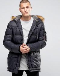 Дутая куртка с воротником из искусственного меха 11 Degrees - Черный