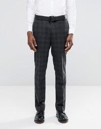 Темно-серые зауженные брюки в черную клетку ASOS - Серый