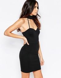 Платье мини с высокой горловиной и лифом сердечком Oh My Love - Черный