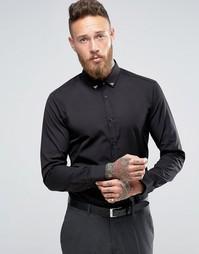 Строгая рубашка слим с металлическими уголками на воротнике Hugo By Hugo Boss - Черный