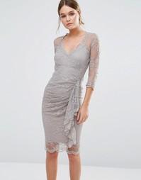Кружевное моделирующее платье с оборкой Body Frock Fifi - Коричневый