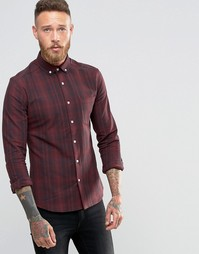 Бордовая рубашка скинни в клетку с длинными рукавами ASOS - Коричневый