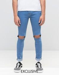 Супероблегающие рваные джинсы Reclaimed Vintage - Синий