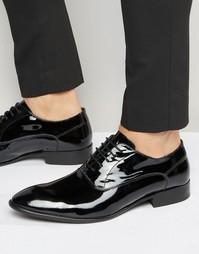 Кожаные лакированные туфли-оксфорды Base London Holmes - Черный