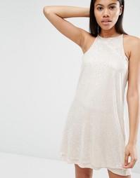 Платье на бретельках с пайетками Love - Бежевый