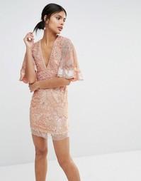Платье мини с рукавами в стиле кимоно и отделкой A Star Is Born - Розовый
