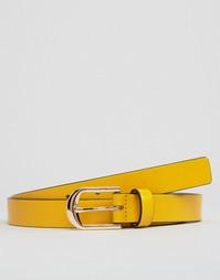 Узкий кожаный ремень Smith And Canova - Желтый