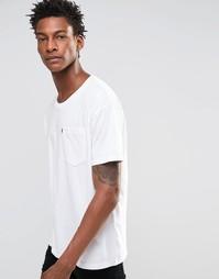 Белая футболка прямого кроя с карманом Levis Line 8 - Белый