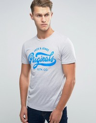 Меланжевая футболка с принтом в стиле ретро Jack & Jones - Серый