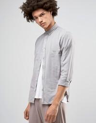 Оксфордская рубашка на пуговицах !SOLID - Серый