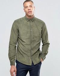 Вельветовая рубашка на пуговицах !SOLID - Зеленый