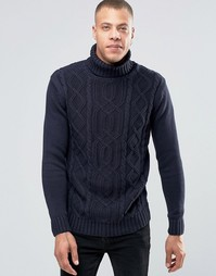 Solid Roll Neck Knit With Cable Detail - Темно-синий !Solid