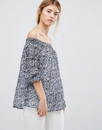 Блузка с открытыми плечами Greylin Jessalyn - Синий