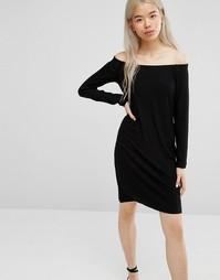 Платье с открытыми плечами Weekday - Черный