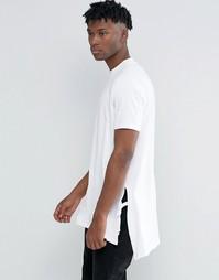 Белая длинная футболка-трапеция с разрезами и завязками по бокам ASOS - Белый