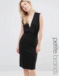 Платье-футляр длины миди с V-образным вырезом Alter Petite - Черный