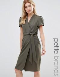 Чайное платье миди с запахом Alter Petite - Зеленый