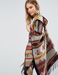 Oversize-пальто с геометрическим принтом Jayley - Коричневый