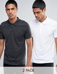 Комплект из 2 трикотажных футболок-поло (белая/серая) ASOS - СКИДКА 15 - Мульти